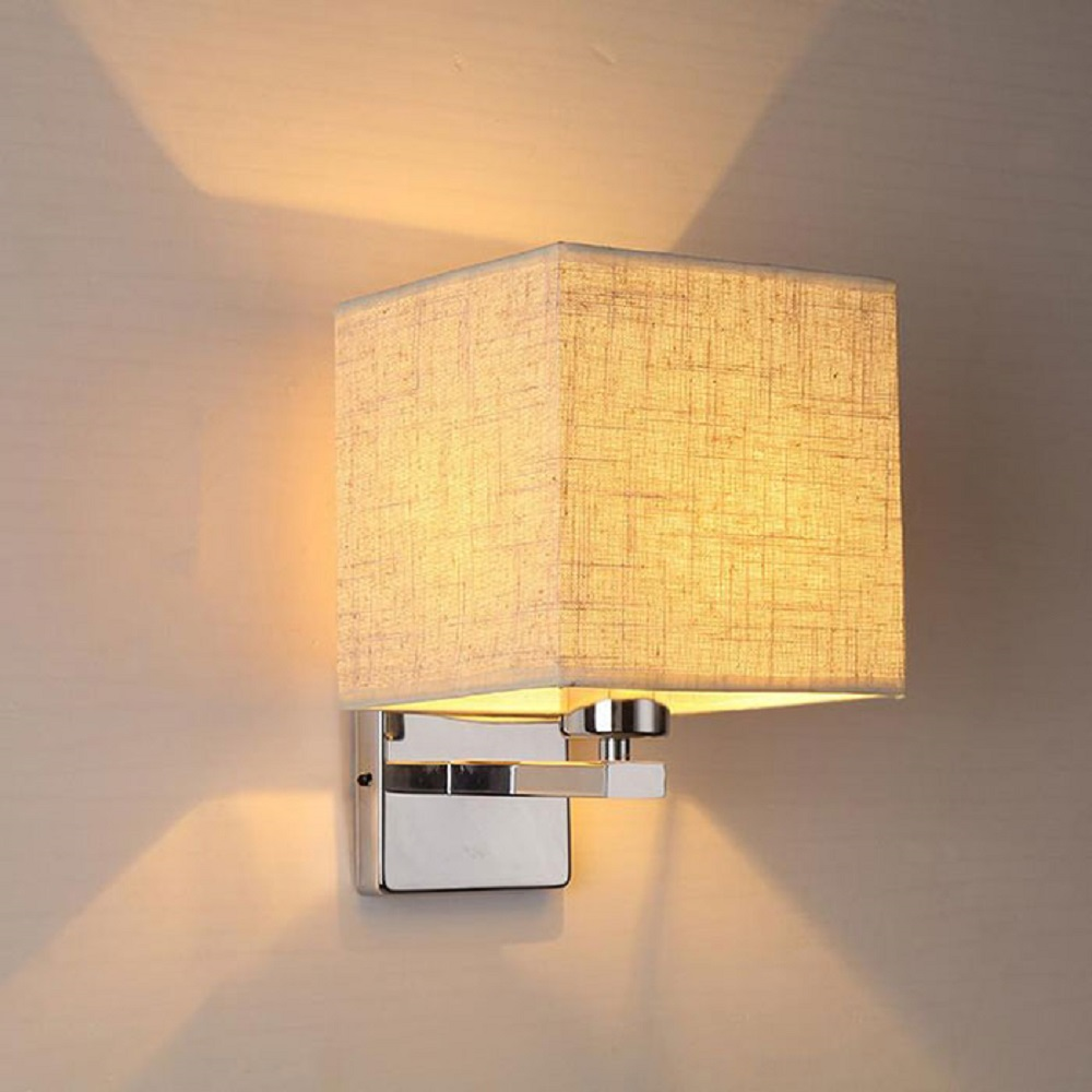 ФОТО Modern wall lamp led bedside lamp bedroom hotel stair wall sconces lighting Stainless Steel black white Fabric lampshade fixture