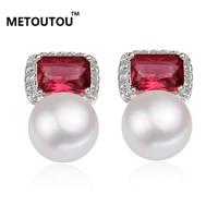 2017Hot Sale Temperament Freshwater Pearl Earrings With Red Zircon Jewelry 925 Silver Pearl Earrings Women