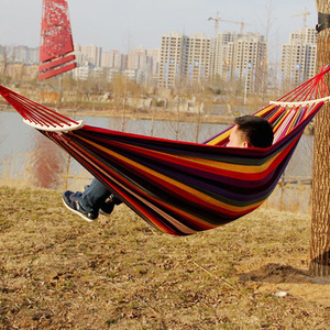 Image 3 - Outdoor Furniture Canvas Fabric Double Wood Spreader Bar Stick Hammock Tent Outdoor Camping Swing Hanging Two person Hammock Bed