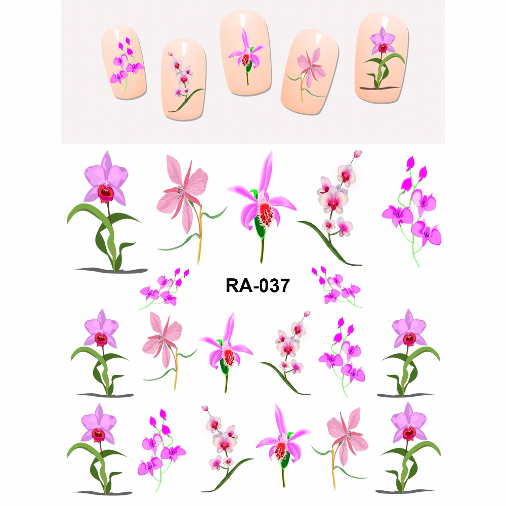 NAIL ART BEAUTY WATER STICKER DECAL SLIDER ELEGANT FLOWER FLORID ORCHID PURPLE PINK PETAL RA037-042