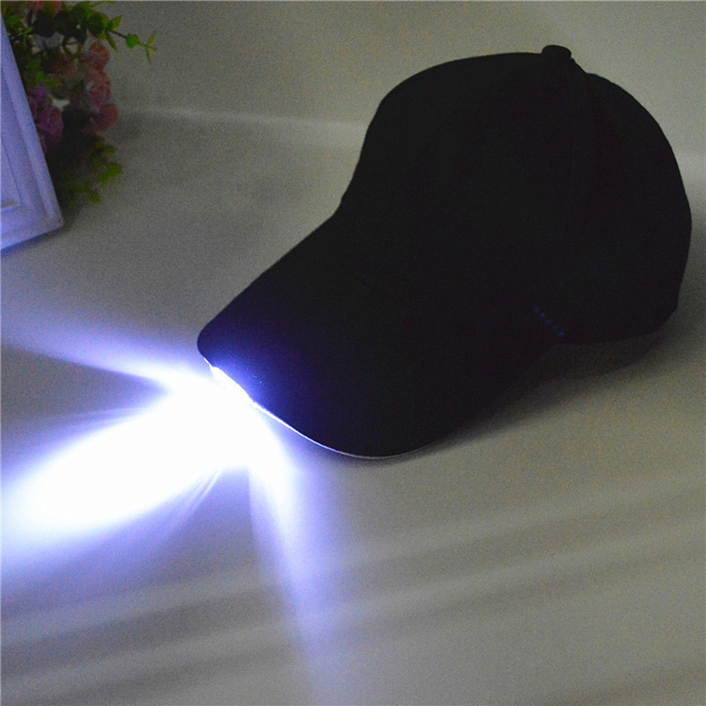 LED Adjustable Lighted Glow Club Party Sport Athletic Fabric Travel Hat Outdoor   Cap   Night Walking Hiking Hunting Fishing   Cap   #L5