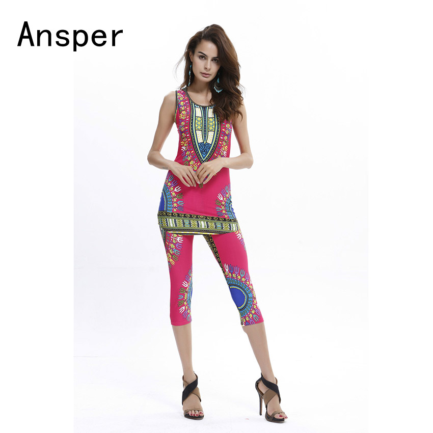 ONE SIZE 1 Set of African Style Dashiki Women Sets Tanks Tops and Short Pants Elastic Waist Tight Short Sleep Stretchy