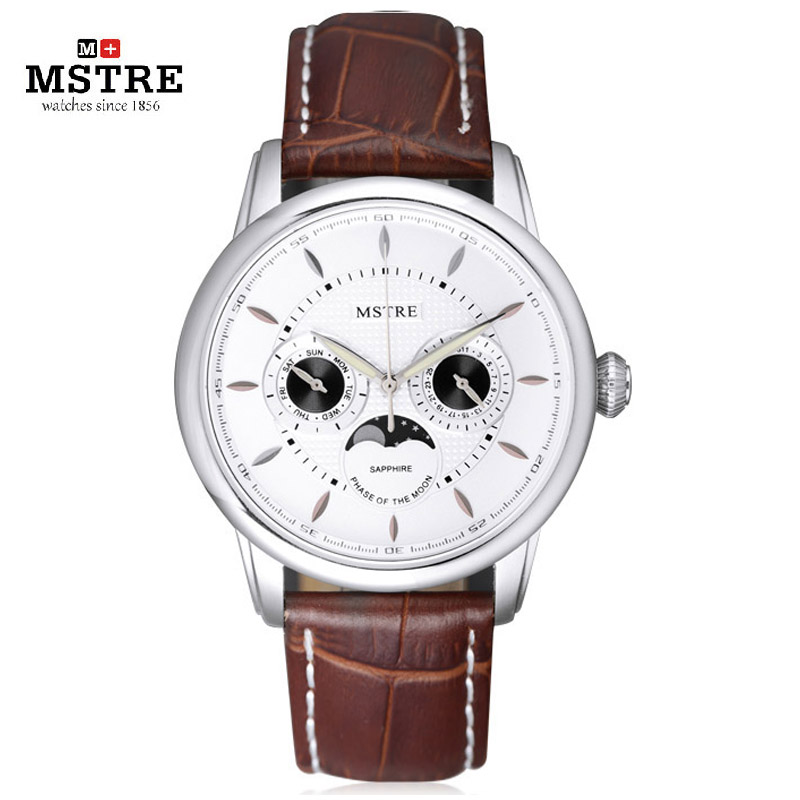 Brand MSTRE Men s Casual Business Watch Male Japan Quartz Wrist Watches Moon Phase Genuine Leather