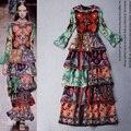 Alta calidad nuevo 2016 runway fashion designer flare manga de la impresión floral de las mujeres vestido maxi en cascada de volantes vestido largo