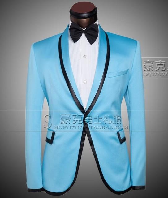 Céu Azul de ALTA QUALIDADE Dos Homens Ternos Blazers Slim Fit Masculino Noivo Do Casamento do baile de Finalistas Para O Smoking Singer Compere (Jacket + Pants + Gravata Borboleta)