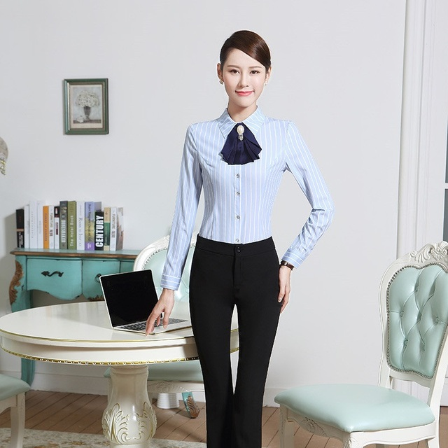 New Elegant Striped Pantsuits With 2 Piece Blouses And Pants ...