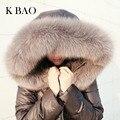100% Natural Fox Cuello de Piel de Invierno Chaqueta de Las Mujeres 90% Blanco pato Abajo Abrigos Largo Grueso Parkas Para Mujer Chaquetas de Invierno Y abrigos