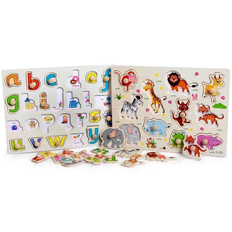 Montessori Sensorial materiales de dibujos animados de animales de zoológico Montessori rompecabezas de madera juguetes de madera didácticos y educativos preescolar Montessori juguetes UD0563H