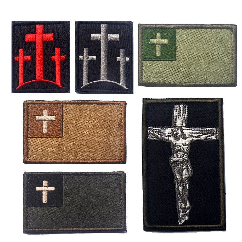3pcs embroidery christianity cross patch cloth tactical jesus catholic patch hook loops military morale armband combat
