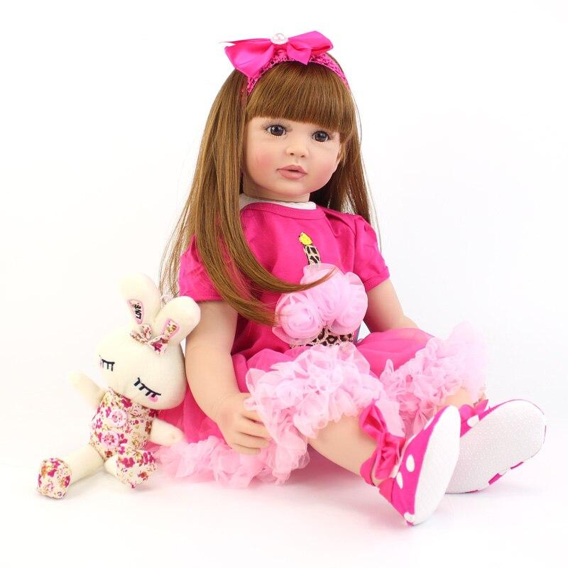 60 cm silikonowe niemowlę Reborn zabawki dla dzieci duży rozmiar winylu noworodka lalka księżniczka przy życiu dziewczyna Boneca dzieci dom zabaw zabawki w Lalki od Zabawki i hobby na  Grupa 3
