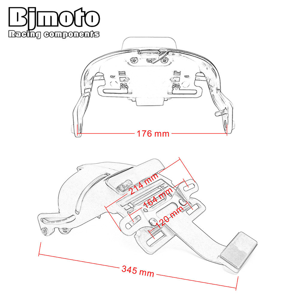 Bjmoto rear fender led license plate tail light w mount bracket for harley sportster xl883 xl1200 48 2004 2014 on aliexpress alibaba group
