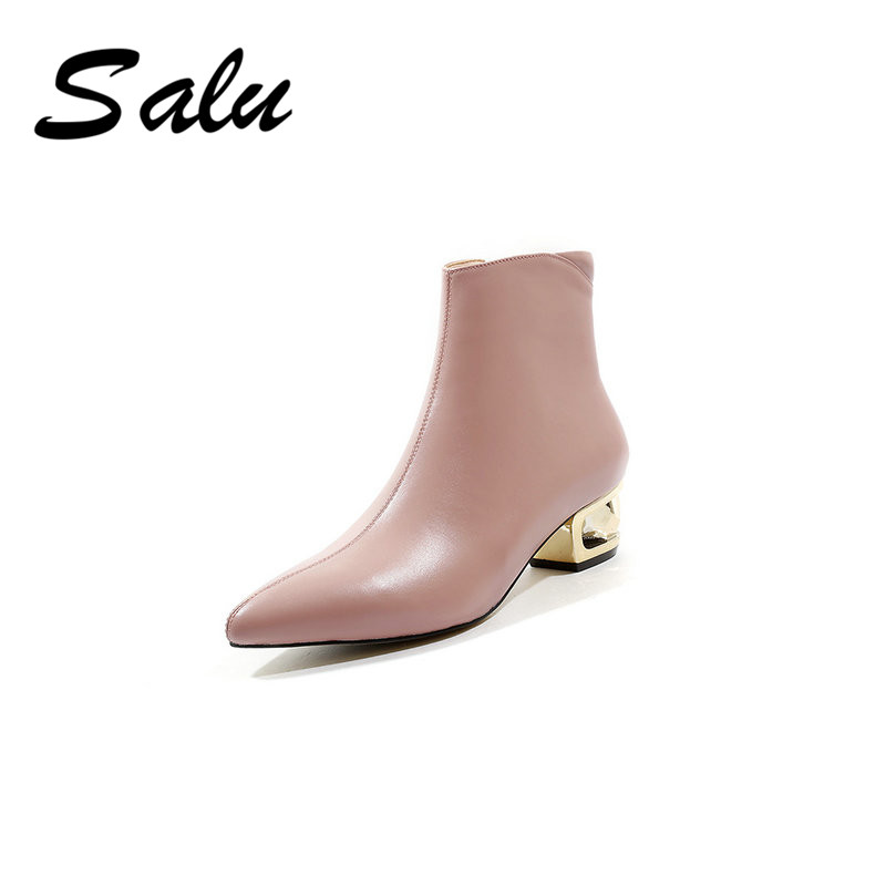 Salu ankle Boots Women Genuine Leather pointed Toe Classic Ankle Booties Autumn Winter Designer Ladies Shoes women s autumn flats ankle boots brand designer front zip genuine leather short booties motorcycle punk boots winter shoes women