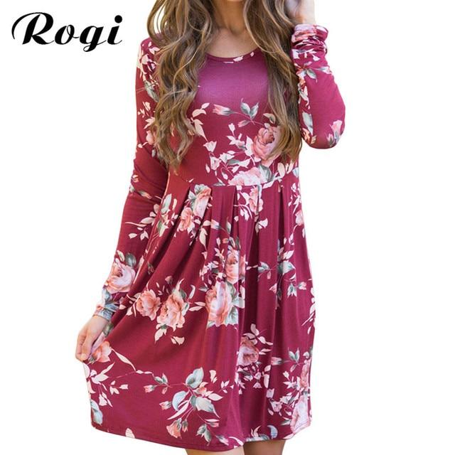 Rogi Ladies Dress 2017 Casual Print Boho Tunic Beach Dress Women ...