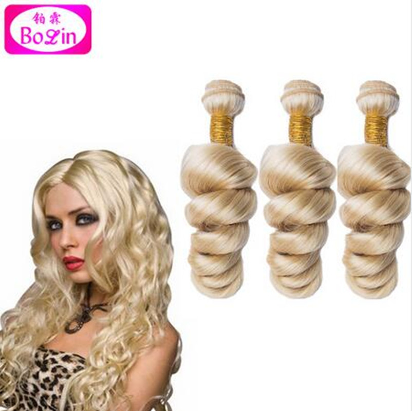 8A Unprocessed Brazilian Blonde Curly Hair Extensions Loose Curly Virgin Hair Bundles 613# Brazilian Loose Wave Huamn Hair Weave