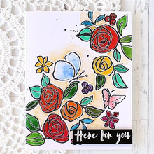 InLoveArts Rose Stamps and Dies Flower Leaves for Card Making Letter Clear Stamps Silicone for DIY Scrapbooking Craft Template