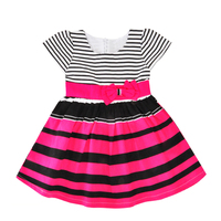 New Style Summer Dress Girls Clothes Fashion Rainbow Stripe Kids Princess Dress Brand Bow Flower Girl