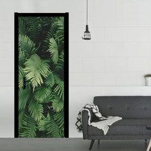 Forest Tropical Green Leaf Bathroom Door Entrance Stickers Shower Room Decoration Wall Decals For Shop Office Home Cafe Hotel