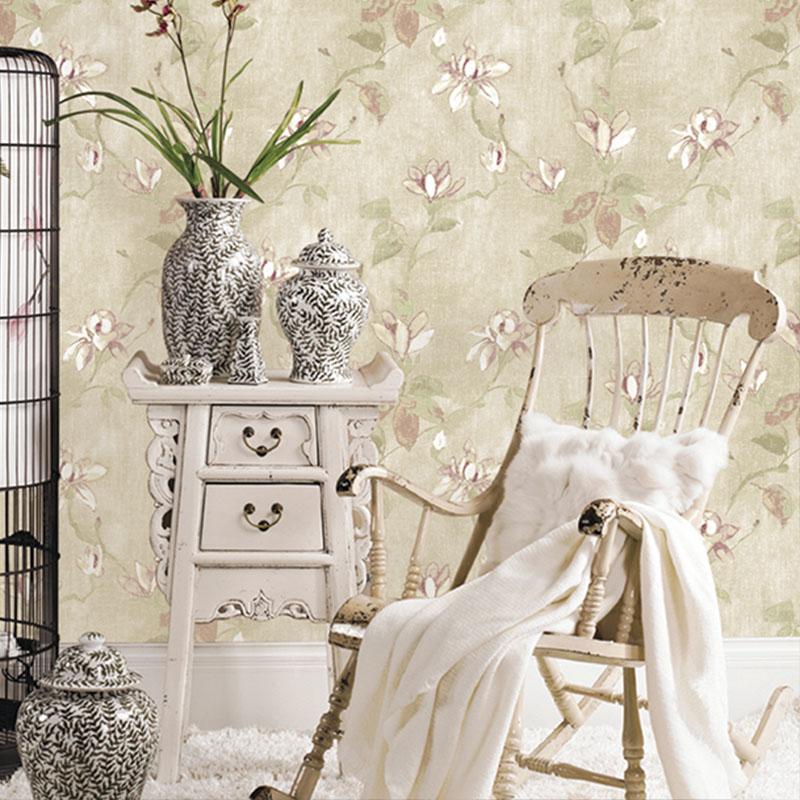 Купить с кэшбэком American Rustic Vine Flower Wall Papers Home Decor Vintage Wallpaper Gray Green,Beige for Living Room Bedroom Decoration Mural