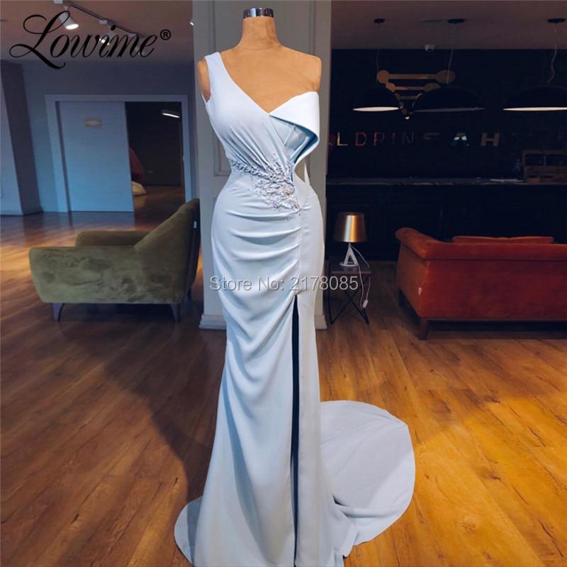 Split Side Design Dubai Kaftans Mermaid Party   Dress   Arabic Pleats Satin Evening Gowns 2019   Prom     Dresses   Robe De Soiree
