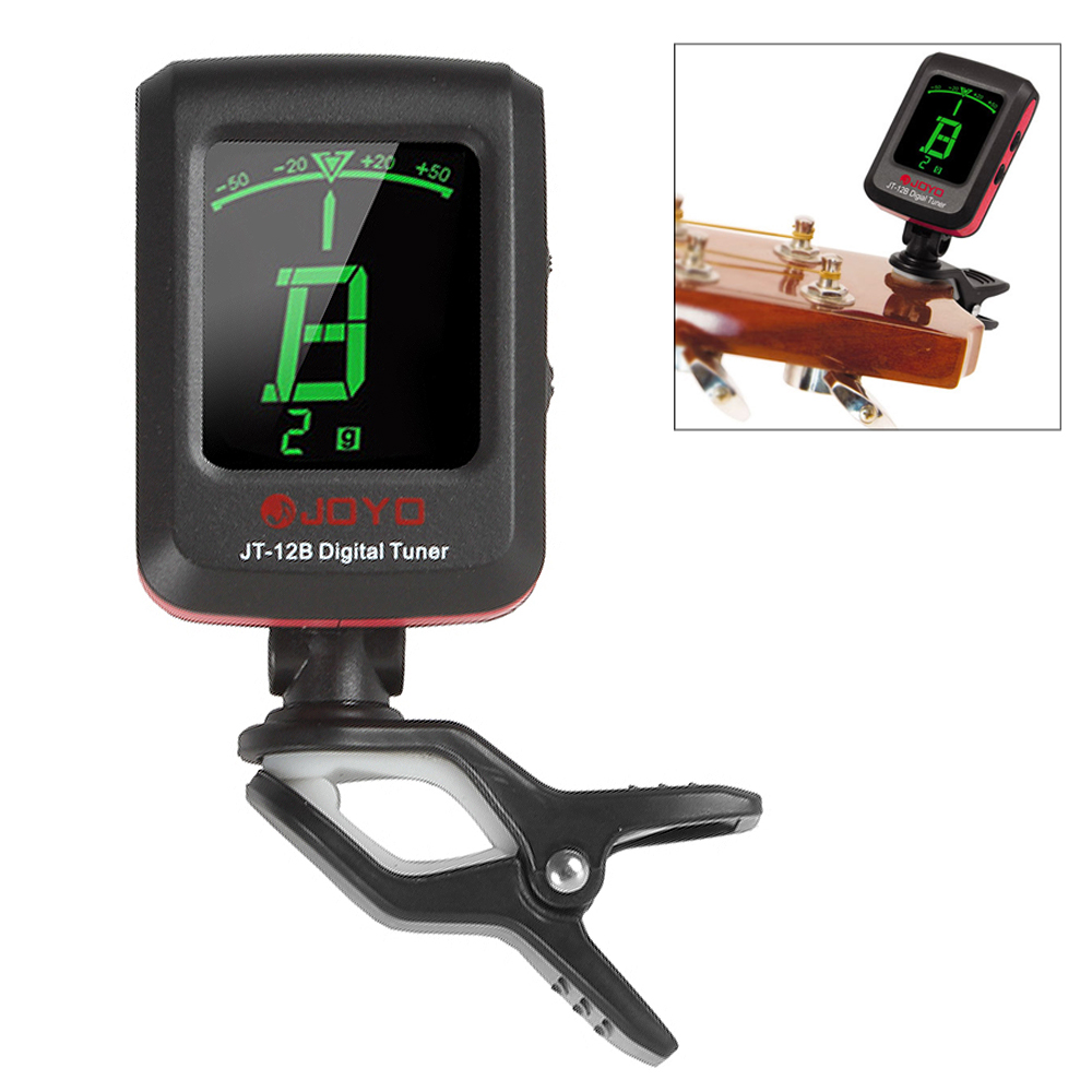 JT-12B  Electric Guitar Bass Violin Ukulele Chromatic Tuner with LCD Backlight + Battery lt 33 electronic piezo clip on chromatic tuner guitar bass ukulele violin chromatic tuner for musical instrument accessories