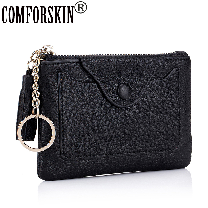 COMFORSKIN Brand 100% Genuine Leather Soft Coin Purses 2019 High Quality Multi-function Women Zipper Purse with Key Holder Sales