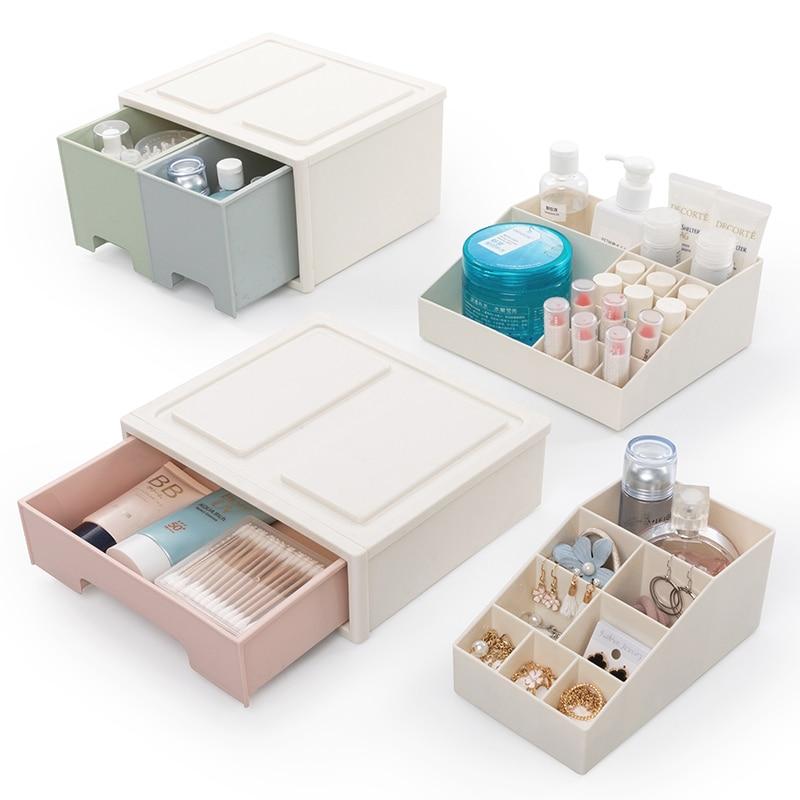 BNBS Plastic Drawer Jewelry Necklace Storage Box Cosmetic Perfume Nail Polish Lipstick Makeup Organizer Desktop Storage Case makeup organizer box