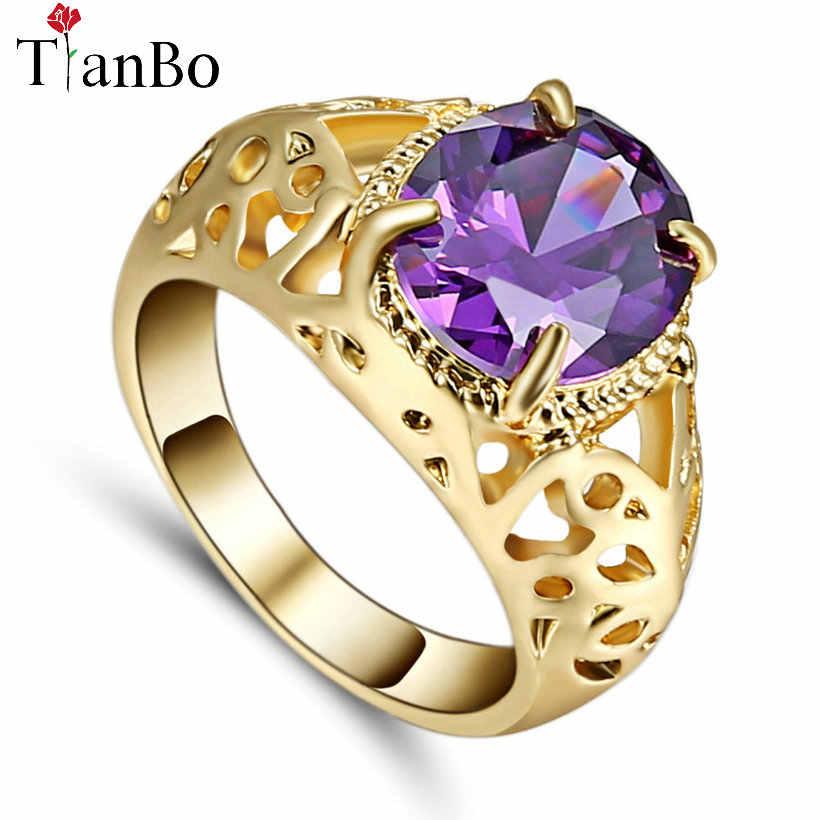 TianBo Moda içi boş oyma Tarzı Mor/Zeytin Zirkon Boyutu 8 Yüzük Kadınlar Için Gümüş/Siyah/Altın renkli Düğün Parti Yüzük Takı