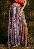 Womens Summer Style Bohemian Boho Floral Skirts Print Sexy Open Side Split Beach Work Clubwear Fitted