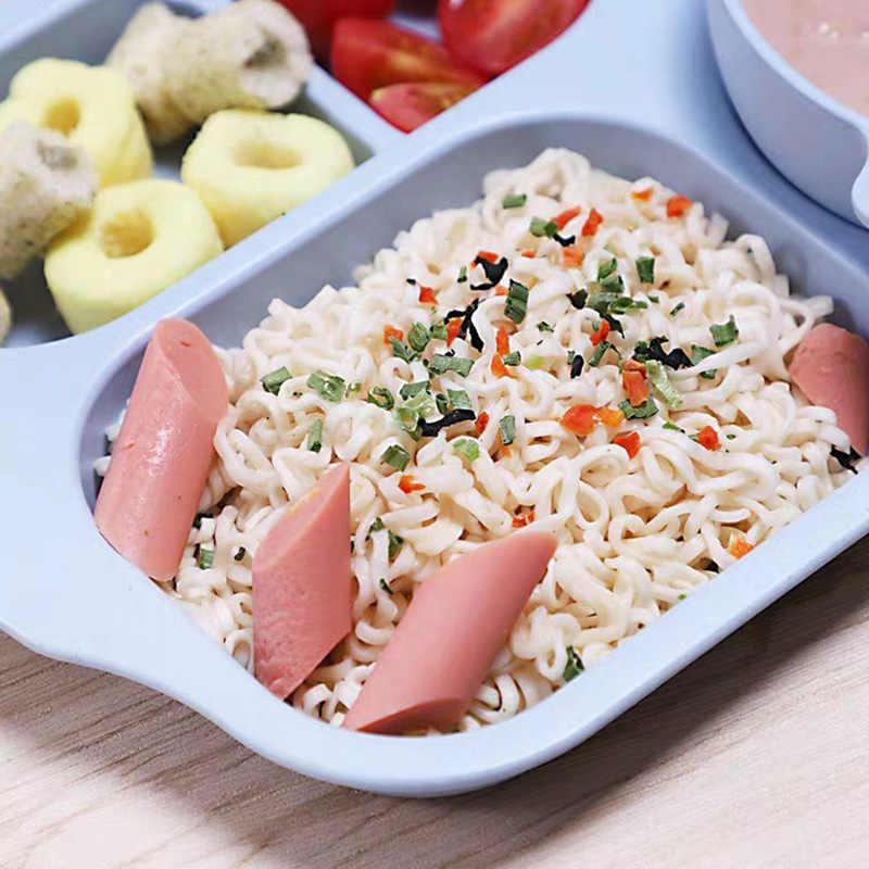 6 ชิ้น/เซ็ตข้าวสาลีฟางชุดอาหารเย็นเป็นมิตรกับสิ่งแวดล้อมเด็กถ้วยจานชามตะเกียบช้อนส้อมบนโต๊ะอาหาร NTY0023