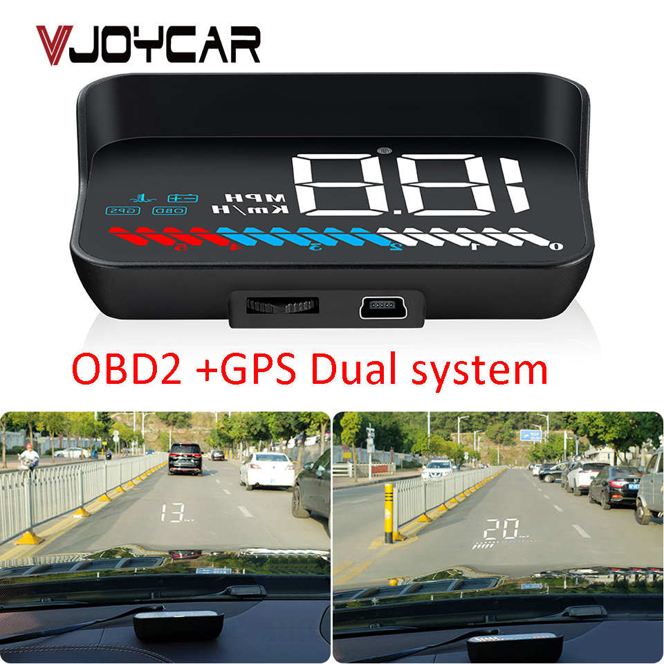 Coche OBD GPS Hud velocímetro M7 pantalla Head Up OBD M8 parabrisas proyector Digital de proyección de velocidad con parasol soporte