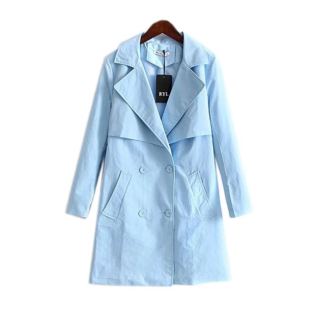 Otoño 2016 largo de las nuevas mujeres de la moda y el viento del todo-fósforo cruzado solapa de la chaqueta femenina abrigo