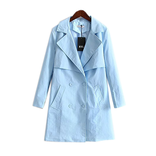 autumn 2016 long new women's fashion and the wind all-match double breasted jacket lapel coat female