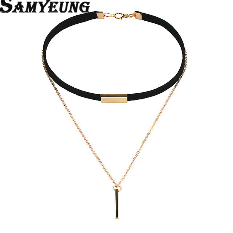 Tassel Velvet Chocker Necklaces Gold Chain Strip Short Section Necklace Women With Leather Double Chain Collar Collier