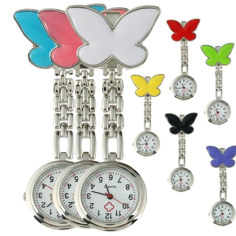 Gnova Platinum 1x Metal Nurse Watch Butterfly Charm Women Medical Military Brooch Watch Red Cross Analog Quartz Clock B014