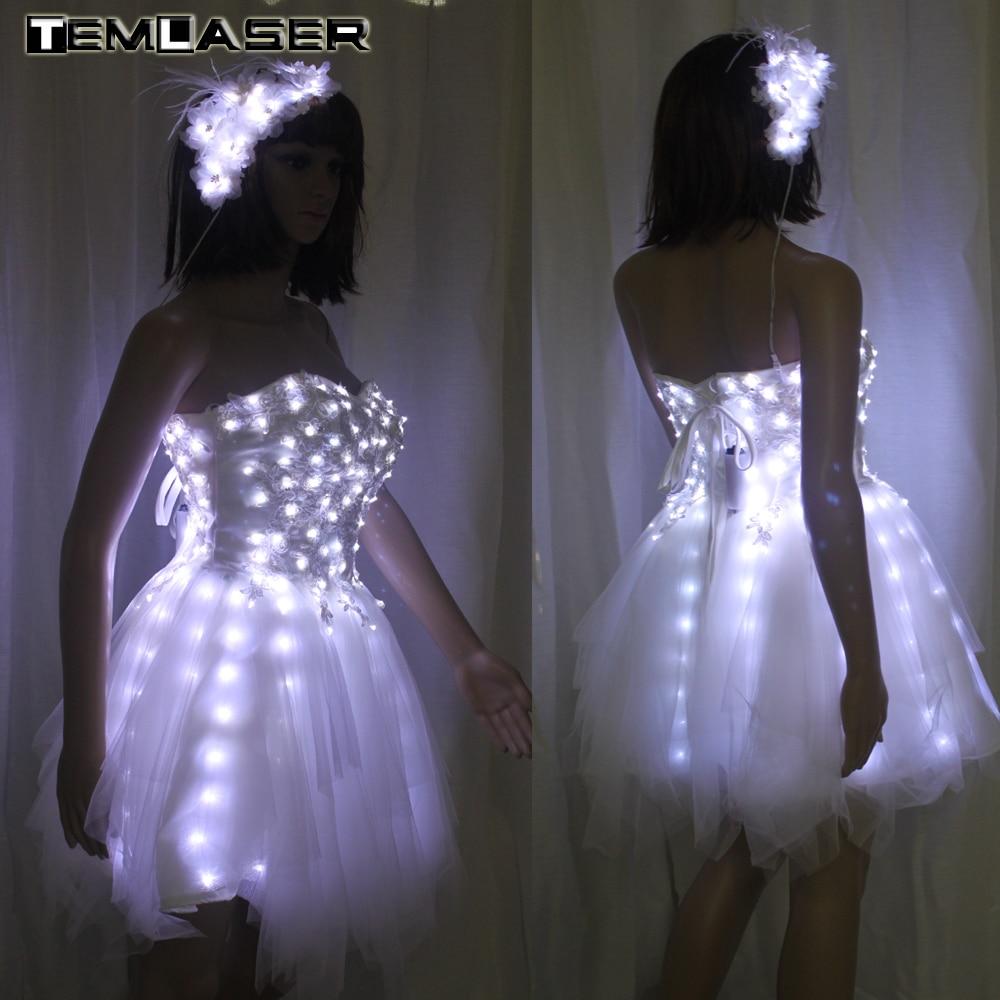Új érkezés menyasszony világít Luminous ruhák LED jelmez Balett - Újdonság