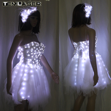 नई आगमन ब्राइड लाइट ऊपर चमकदार कपड़े एलईडी कॉस्टयूम बैले ट्यूटू एलईडी कपड़े स्कर्ट वेडिंग पार्टी के लिए