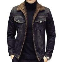 2017 Men Fashion Denim Jackets Autumn and Winter Black Denim Jacket Thick Wool Coat Male Plus Velvet Denim Jacket Size M 2XL 3XL