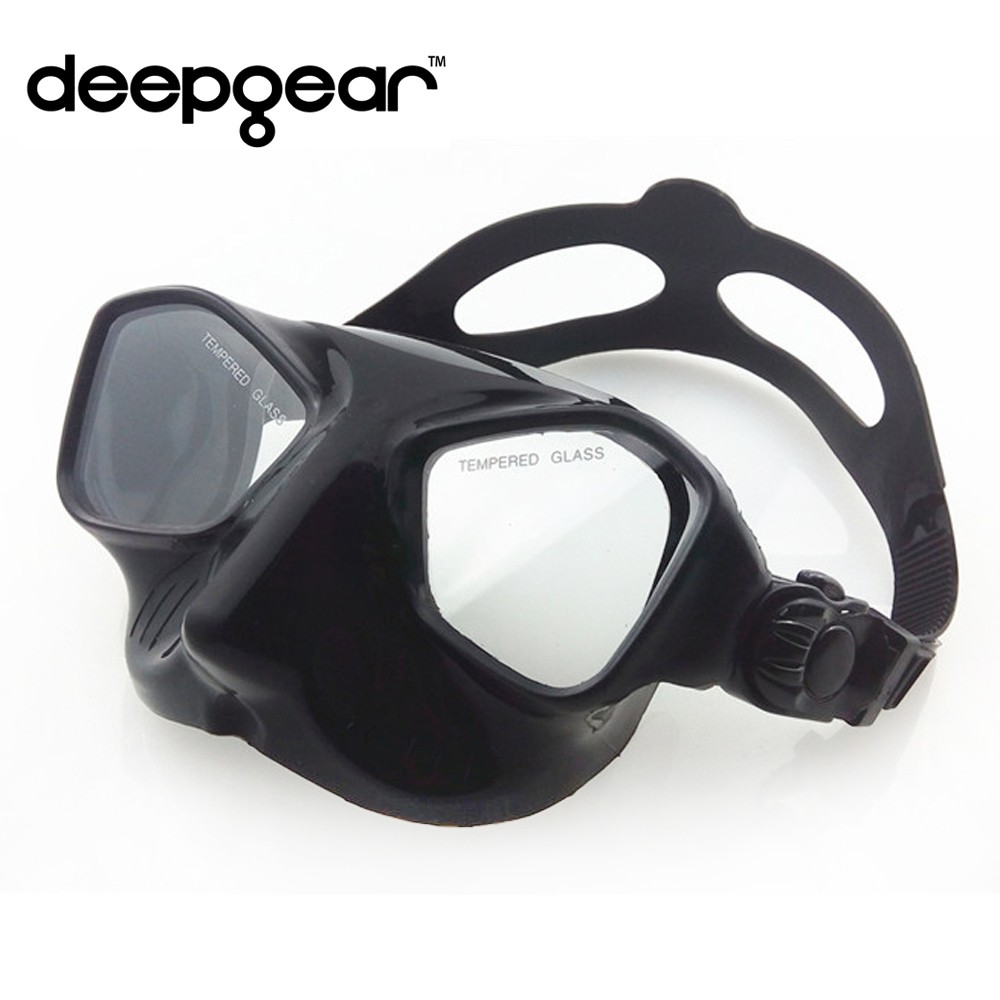 Framless spearfish mask and snorkel set Black Silicone snorkel diving mask set