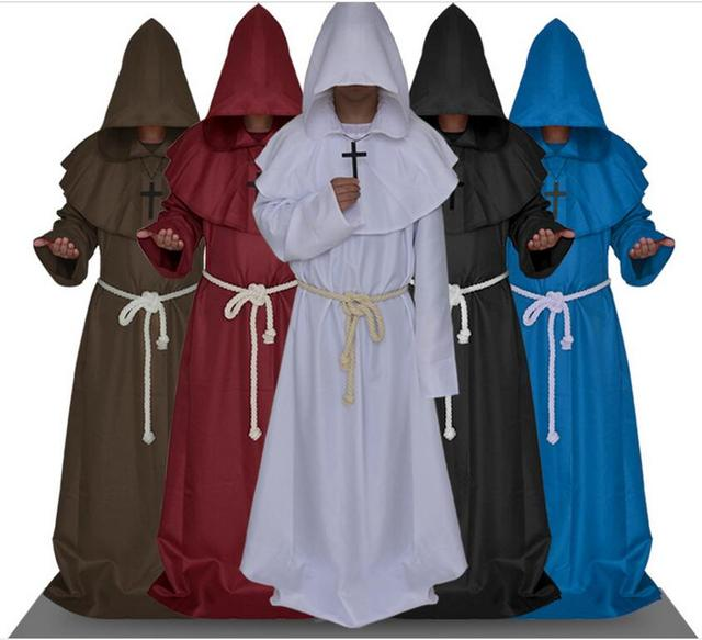 Medieval Cosplay Gown Renaissance Monk Costume Cowl Friar Clothing ...