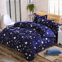 Cute cartoon lattice star cloud Creativity British style 4pcs/3pcs Duvet Cover Sets Soft Polyester Bed Linen Flat Bed Sheet