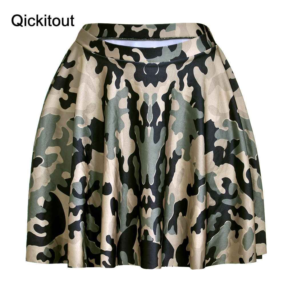 83e85c0ae Hot Summer Style Women Skirt Hot Sale Silky Digital Print Green Camouflage  Above The Knee Skirts