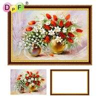 DPF With Frame Diamond Painting Cross Stitch Tulip Full Round Diamond Mosaic Kit Diamond Embroidery Home