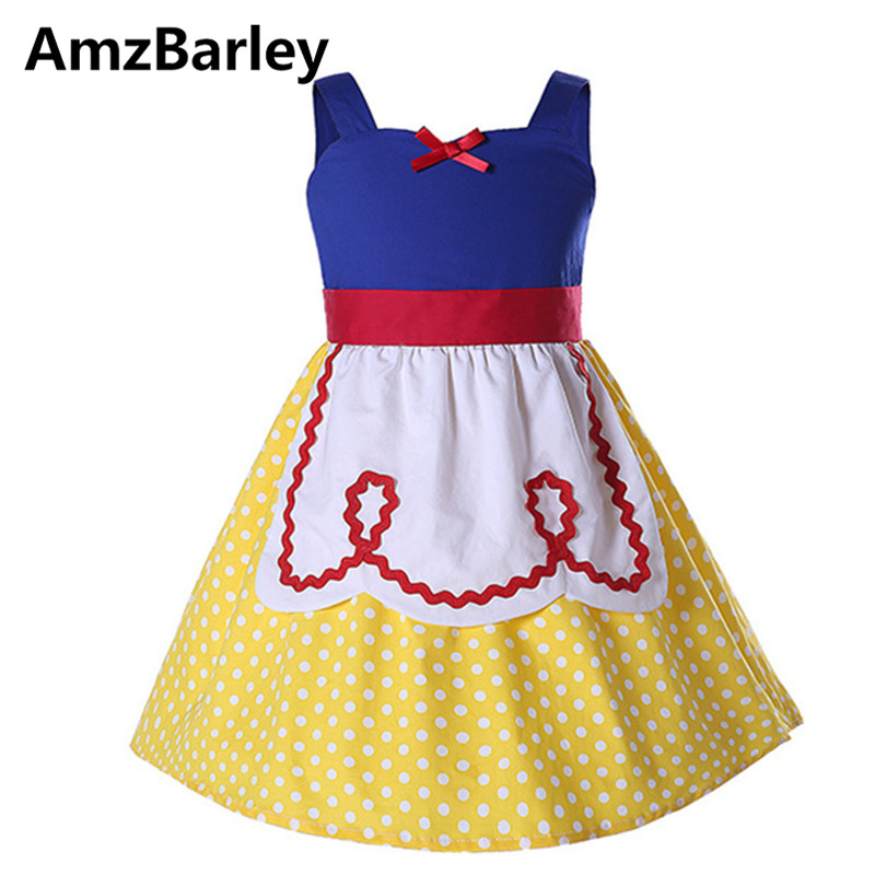 AmzBarley Girls Dresses Vestidos Kids Snow White Dress Dots Princess Cotton Clothes Costume Fancy Cosplay Christmas Makeup Party princess cinderella girls dress snow white kids clothing dress rapunzel aurora children cosplay costume clothes age 2 10 years