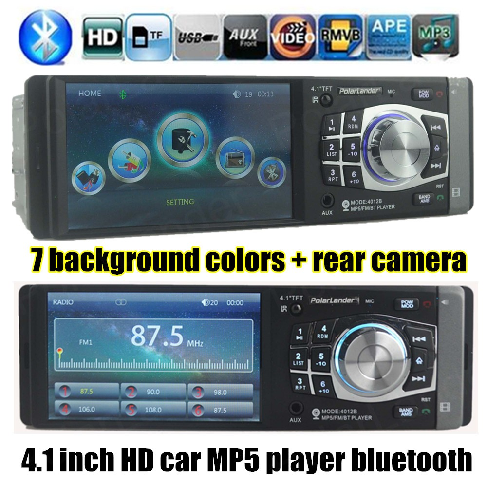все цены на Car Stereo Radio MP3 MP4 Player 4.1'' HD TFT 12V Car Audio Video-IN OUT FM/USB/SD/Folder Play/AUX Support Rear Camera Bluetooth