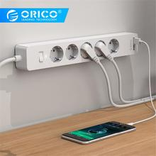 ORICO USB Smart Power Strip Socket 4000w with Adhesive Board socket 2 AC 5AC Outlets 2 USB Charging Ports for Home Office plug orico odc 2a5u v1 smart charging desktop charger with 2 ac outlets and 5 usb ports for phones iphone 7 tablets and desktops