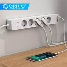 ORICO USB Smart Power Strip Socket 4000w with Adhesive Board socket 2 AC 5AC Outlets 2 USB Charging Ports for Home Office plug(China)