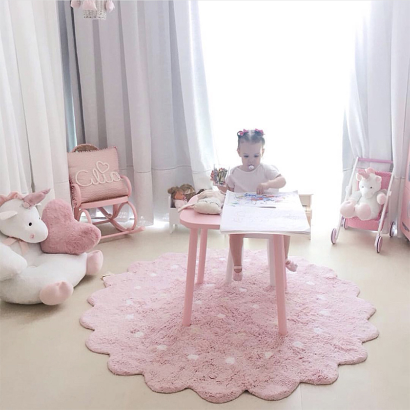 INS High Quality 100% cotton Dot Pattern Lace Mat Baby Play mat tapete carpet Game Mat Blanket Children's Room home decoration цены