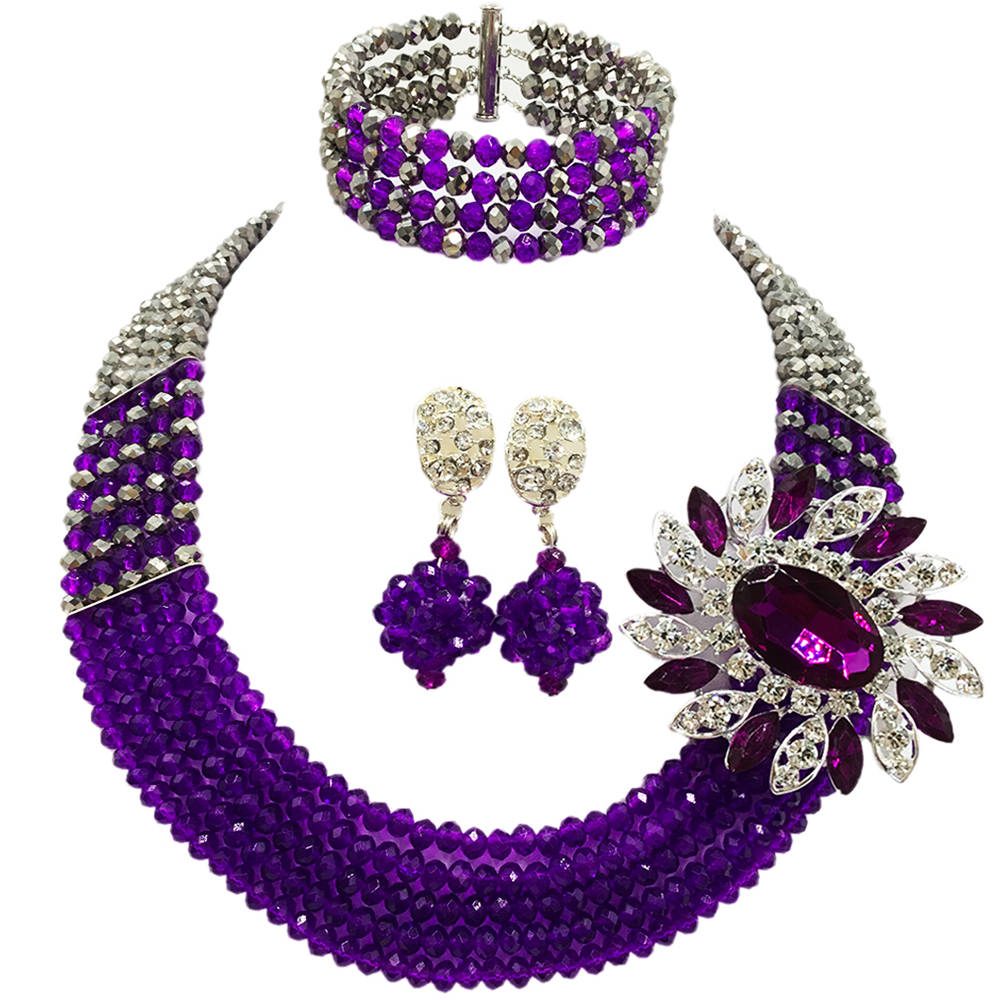 Fashion Purple Silver African Beads Necklace Nigerian Wedding Jewelry Set 5C-SXJB029