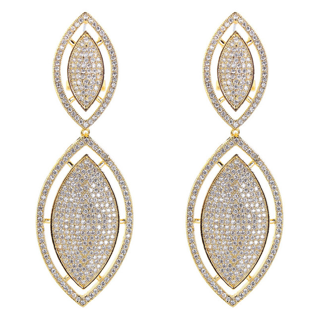 Fashion Jewelry Lady Italian Designer Gold Color Micro Pave Setting