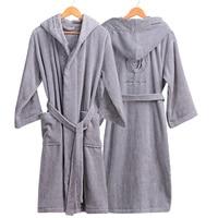 Thick Cotton Bathrobe Hooded Men's Bath Robes Gentlemen Homewear Male Sleepwear Lounges Pajamas Bathrobes Winter Autumn White